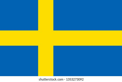 Swedish or Kingdom of Sweden official flag symbol icon flat vector