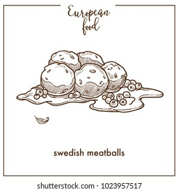 Swedish meatballs sketch icon for European food cuisine menu design