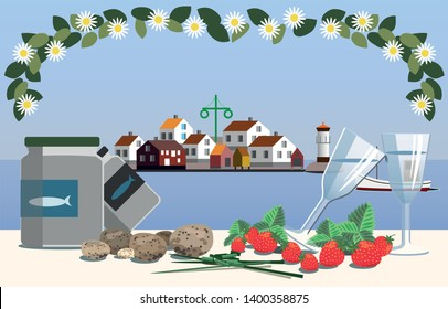 Swedish midsummer in the archipelago with typical course of food including pickled herring, new potatoes, chive, snaps and strawberries.