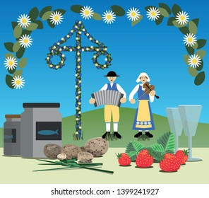Swedish midsummer festival with maypole, traditional folk music and a typical meal including pickled herring, new potatoes, chive, snaps and strawberries.
