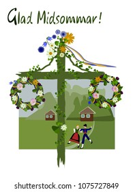 Swedish National Costumes  Midsummer is a celebration of summer and light, and is one of the most celebrated holidays in Sweden.May pole.Midsummer flowers.June festival party. Vector illustration.