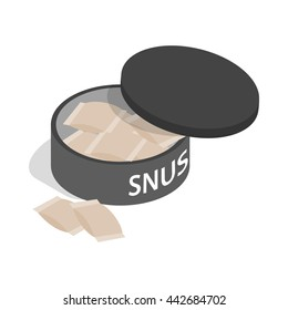 Swedish snus, chewing tobacco icon in isometric 3d style on a white background