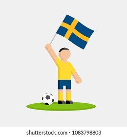 Swedish soccer player in kit with flag and ball