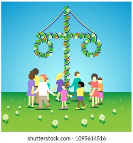 Swedish traditional midsummer dance around the maypole, vector illustration