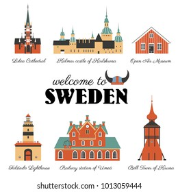 Swedish vector landmark flat building Lulea Cathedral, Falsterbo Lighthouse Malmoe, Railway station of Umea,Bell Tower of Church, Kiruna, Kalmar castle of Karlskrona,Vallby Open Air Museum of Vasteras