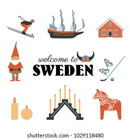 Swedish vector traditional symbols, Vasa Sailer, Tomtar elf, Dalecarlica horse, Dalarna horse, skis, skates, red house, candles, viking helmet isolated on white, decorative set travel icons flat style