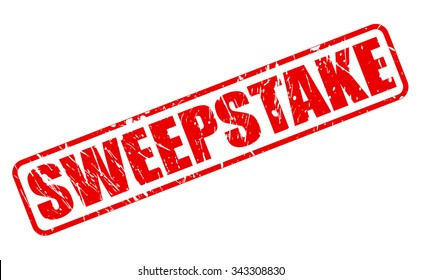 SWEEPSTAKE red stamp text on white
