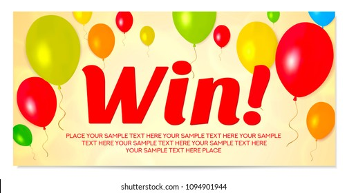 Sweepstakes banner (Win prizes) with balloons. Useful for birthday gift card, competition, contest