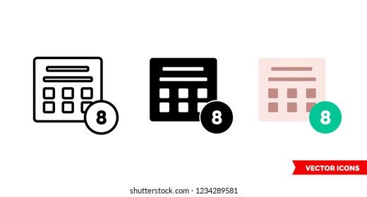 Sweepstakes icon of 3 types: color, black and white, outline. Isolated vector sign symbol.