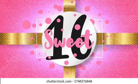 Sweet 16. Number on white round sticker, gold ribbon on pink grunge background. Template for Sixteenth girl birthday invitation design. Vector illustration