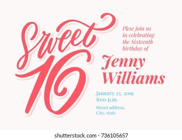 Sweet 16. Sixteenth birthday invitation template.