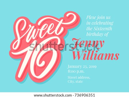 Sweet 16 Sixteenth Birthday Invitation Template