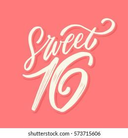 Sweet 16. Vector hand Lettering.