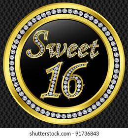 Sweet 16 years anniversary, happy birthday golden icon with diamonds, vector illustration