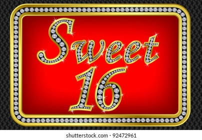 Sweet 16 years anniversary, happy birthday golden card with diamonds, vector illustration