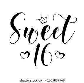 Sweet 16teen. Happy Birthday lettering sign. Design elements for postcard, poster, graphic, flyer. Simple vector brush calligraphy. Stock illustration Isolated on white background.