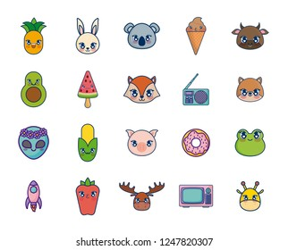 sweet and adorables kawaii set characters