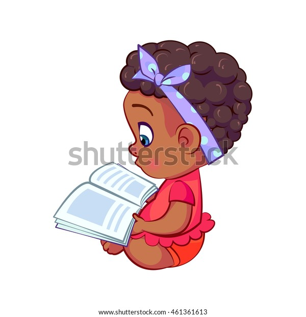 Sweet african baby girl sitting and reading a book. Cool fashionable little girl with a bandage on his head holding a magazine.