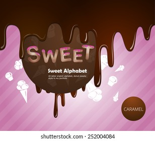 Sweet alphabet with chocolate and caramel cream