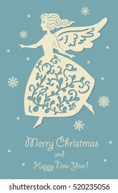Sweet angel. Christmas card.