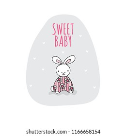 Sweet baby with cute rabbit vector illustration on a light grey background shape.
