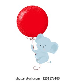 Sweet baby elephant hanging on to air balloon string and flying. Celebration concept. Vector illustration can be used for topics like holiday, birthday, anniversary