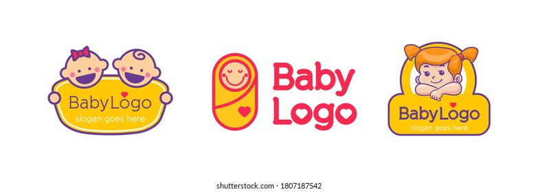 Sweet baby girl and boy logo Vector outline color cartoon style illustration with happy smile For Child care, toys and accessory shop emblem