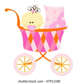 sweet baby girl in carriage