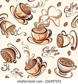Sweet background.  Seamless pattern with coffee beans and cups. Vector illustration.