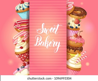 Sweet Bakery background Frame with glazed donuts, cheesecake and cupcakes with cherry, strawberries and blueberries on pink. Hand made lettering. Desert for menu. Food design.