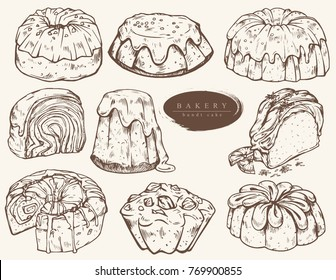 Sweet bakery - bundt cake. Hand drawn. Vintage style.