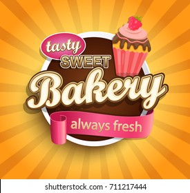 Sweet bakery label with cupcake for your design. Vector illustration.