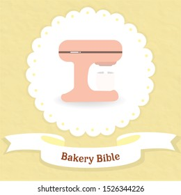 sweet bakery lover banner logo with paper yellow pastel.kawaii stand mixture kitchen.dessert design bow and circle lace.cute pink yummy cafe decoration card.food lover template vector for cup cake.