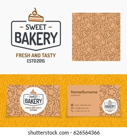 Sweet bakery set with logo consisting of cake and sign fresh and tasty, seamless pattern and cards for identity baking firm, loaf store, food market, coffee shop, cafe etc. Vector Illustration