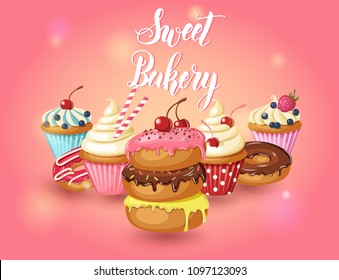 Sweet bakery. Vector glazed donuts, cupcakes with cherry, strawberries and blueberries on on pink background. Desert for menu, advertising and banners. Food design