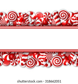 Sweet banner with red and white candies. Seamless pattern. Vector illustration