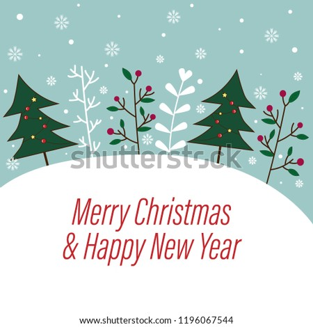sweet and beautiful christmas and happy new year background with pastel blue sky and snowflakes decorated