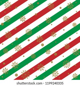 Sweet and beautiful gold snowflake on stripe background with red white and green for Merry Christmas and Happy new year celebration. Vector art design with snowfall for xmas wallpaper with copy space.
