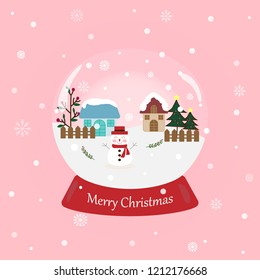 Sweet and beautiful snowball with snowman and text Merry Christmas on pastel pink background with snowflake. Cute vector art design with snowfall for xmas and new year wallpaper with copy space.