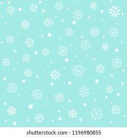 Sweet and beautiful snowflake on pastel blue sky color background for Merry Christmas and Happy new year celebration. Vector art design with snowfall for xmas wallpaper with copy space.