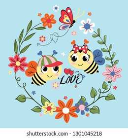 sweet beetles are decorated with beautiful flowers frames vector illustration