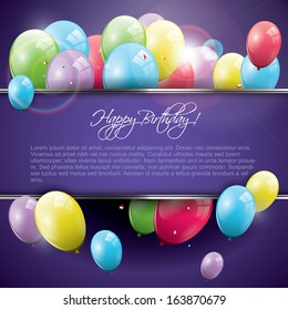 Sweet birthday background with balloons and copyspace