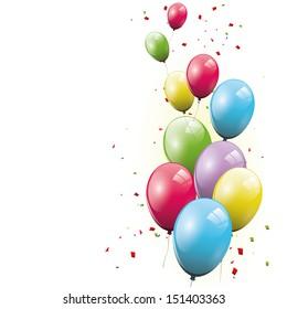 Sweet birthday balloons on white background