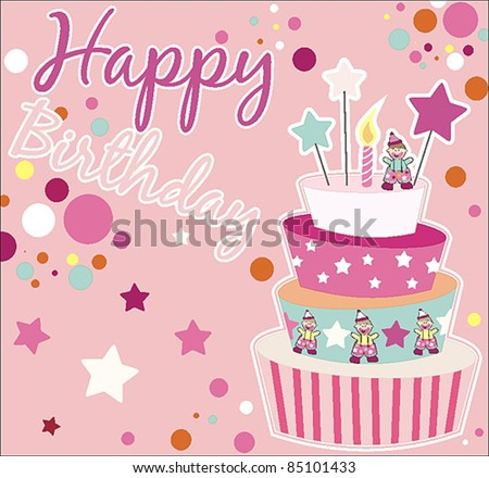 Sweet Birthday Card Cake Stock Vector Royalty Free 85101433