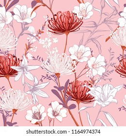 Sweet botanical blooming garden flowers unfinished line drawing seamless pattern vector design for fashion,fabric,wallpaper,and all prints on light pink background color