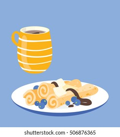 Sweet breakfast set on blue background. Modern flat food elements. Pancakes with chocolate and butter and a cup of coffee. Copy space on top of the image.