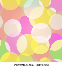 Sweet Bubbles. Seamless Texture for background image on websites, e-mails, etc. Cream-colored Background. High contrast circles.
