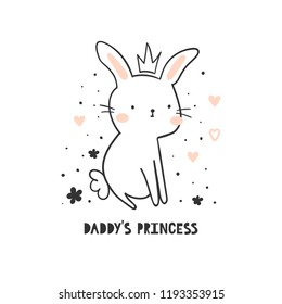 Sweet bunny girl with crown, flowers and text - daddy s princess isolated on white background. Vector illustration for children. Perfect for fashion print design, baby shower and invitation card.