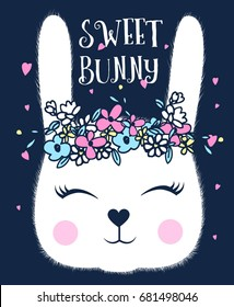 sweet bunny illustration vector for girl print design.