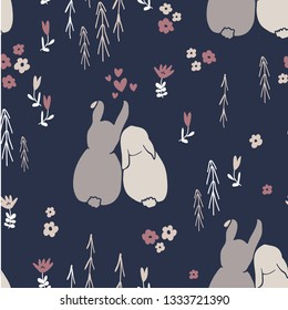 Sweet bunny rabbits seamless pattern with cute animal and simple hand drawn flowers. Baby or kids product design, fabric, wallpaper, clothing. Floral and animal repeated pattern